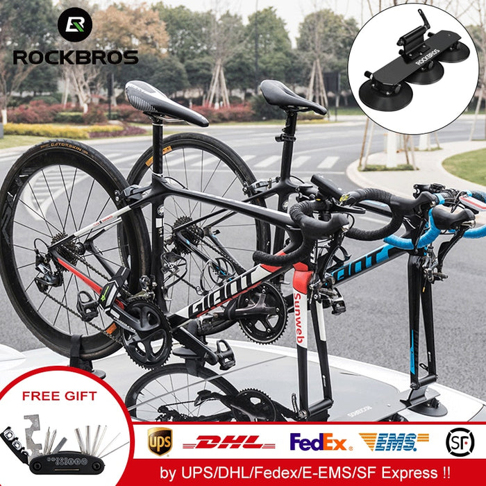 ROCKBROS Car Roof-Top Suction Carrier Bicycle Rack For Mountain MTB Road Bike Hub Quick Install Vacuum Chuck Fixing Accessory - Shoppersbase