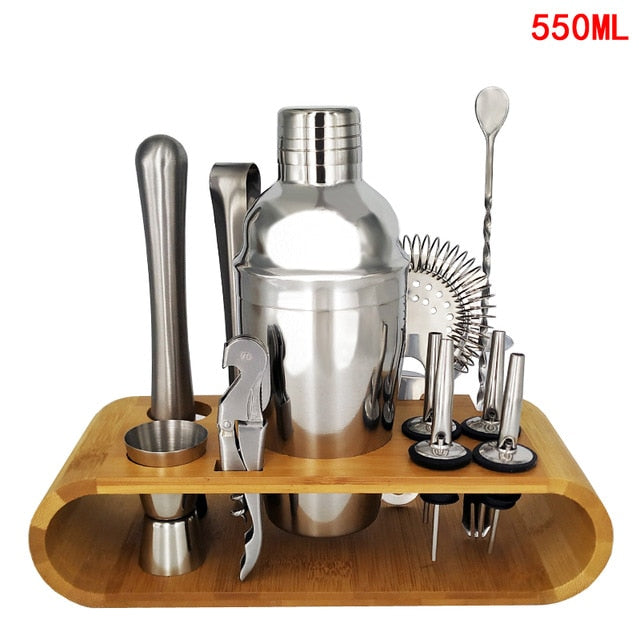 13pcs/set Stainless Steel Boston Cocktail Shaker Bar Wine Mixer Set Bartender Cocktail Hand Shaker Tool Kit Bar Tool with Holder - Shoppersbase