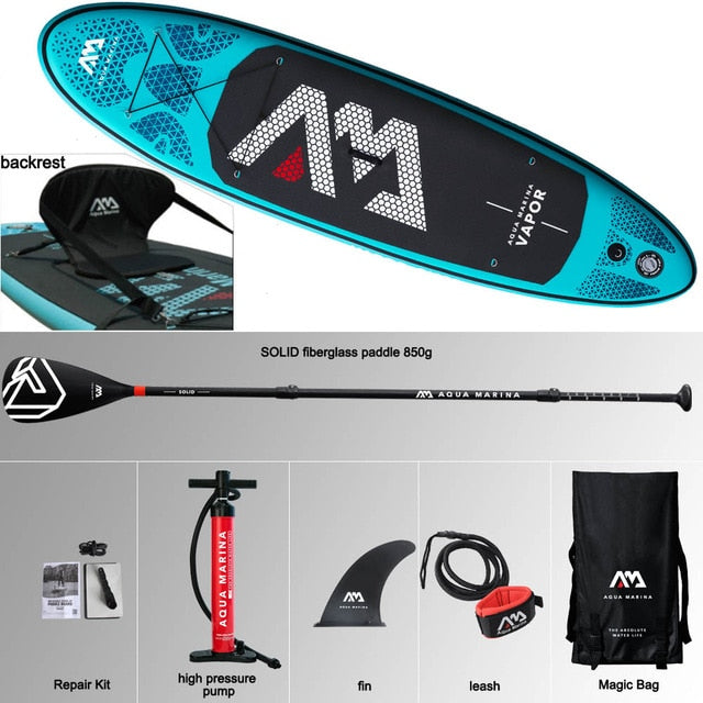 AQUA MARINA VAPOR inflatable SUP stand up paddle board fishing kayak inflatable leash seat - Shoppersbase