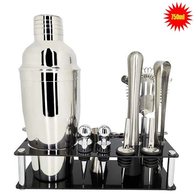 1-14 Pcs/set 600ml 750ml Stainless Steel Cocktail Shaker Mixer Drink Bartender Browser Kit Bars Set Tools With Wine Rack Stand - Shoppersbase