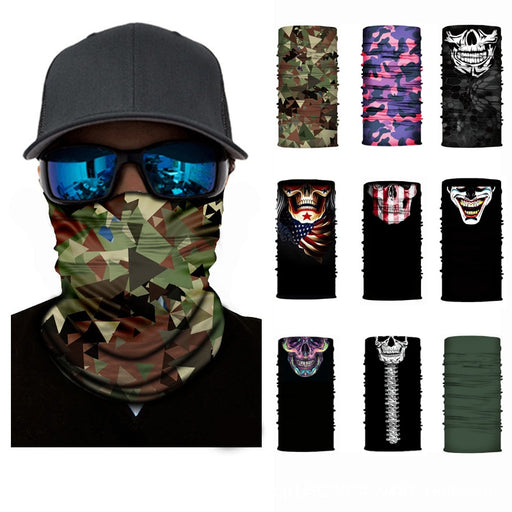 3D Camouflage Skull Solid Bandana Buffs Neck Gaiter Outdoor Headwear - Shoppersbase