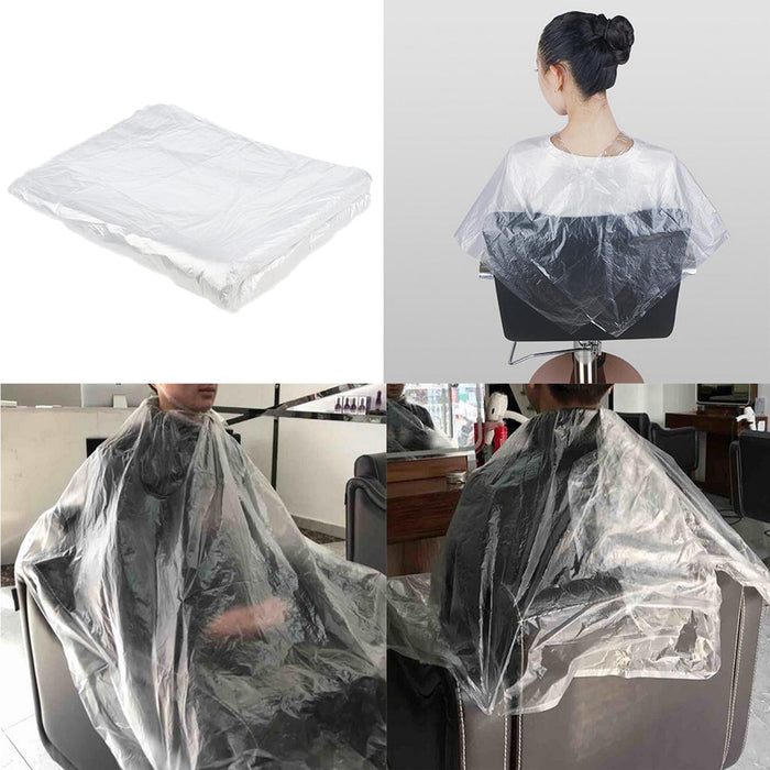 100pcs Waterproof Disposable Hair Cutting Cape Gown Transparent - Shoppersbase