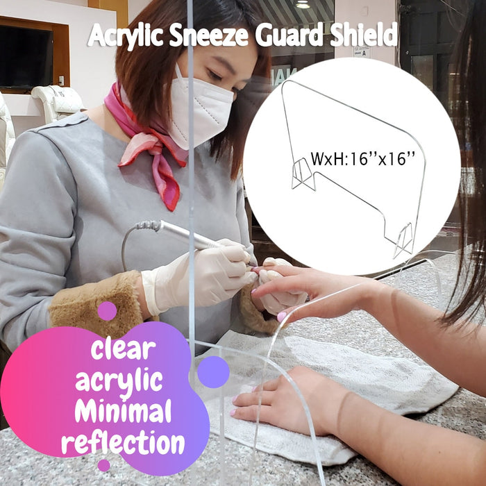 Acrylic Sneeze Guard Shield Protection Safety Counter Top 40x40cm for Restaurant Grocery Stores Salons Retailers - Shoppersbase