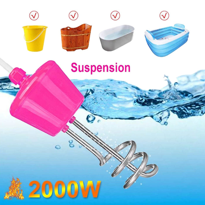 Portable Suspension Electric Immersion Water Heater Boiler for Inflatable Pool Tub Travel Camping Picnic Travel 2000W 2M(EU Plug - Shoppersbase