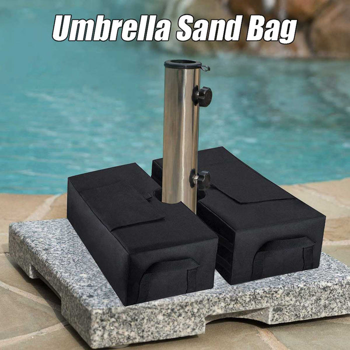 Black Square Weight Sand Bag for Outdoor Patio Sunshade Parasol Umbrella Base - Shoppersbase