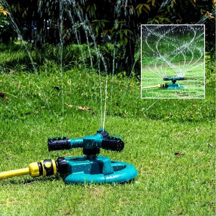 Sprinkler  Large Three-Prong Adjustable Shower Household Garden Watering Tool 4 Points With Base Plastic Garden Sprinkler - Shoppersbase