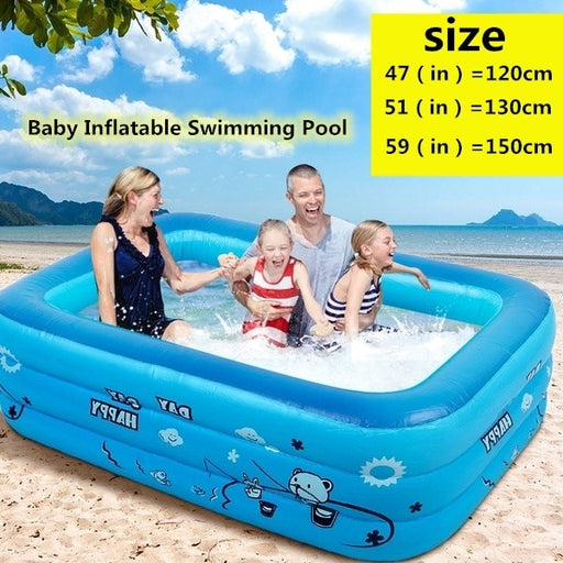 120/130/150cm Children Bathing Tub Baby Home Use Paddling Pool Inflatable Square - Shoppersbase