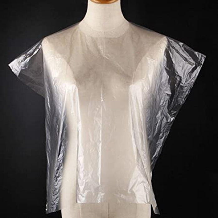 100Pcs Disposable Waterproof Transparent Hair Salon Hairdressing Capes Gown KG66 - Shoppersbase
