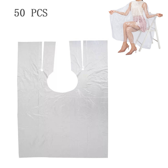 50Pcs 130 x 150cm Disposable PE Waterproof Apron Cut Perm Dye Hair Cape Gown Transparent - Shoppersbase