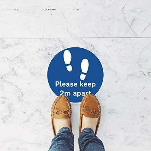 Social Distancing Self Adhesive Floor Sign Sticker Designs Supermarket Pharmacy Business: 300x300mm - PLEASE STAY 2 METRES APART - Shoppersbase