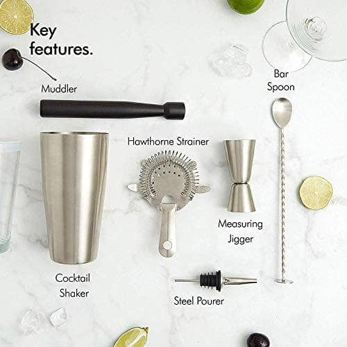 VonShef Cocktail Set – Boston Cocktail Shaker Kit 8 Piece in Gift Box with Accessories Including Glass, Jigger and Strainer - Shoppersbase