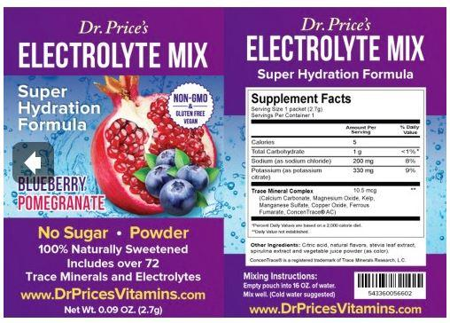 Buy Dr. Price's Electrolyte Mix (Blueberry & Pomegranate), 30ct Box Online Peter's Choice