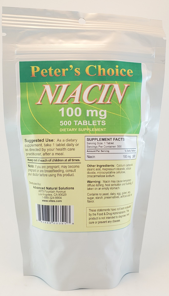 Buy Niacin Vitamin B3 100mg Tablets Online  Peter's Choice
