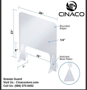 "Portable Plexiglass Shield 23""H x 26""W"