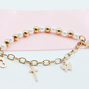 Rose Gold Bead & Charm Bracelet