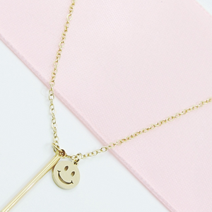 Smiley Bar Necklace