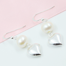 Load image into Gallery viewer, Heart & Pearl Earrings