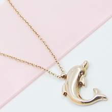 Load image into Gallery viewer, Rose Gold Toned Dolphin Necklace