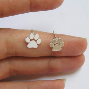 Silver Coloured Paw Print Studs
