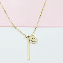 Load image into Gallery viewer, Smiley Bar Necklace