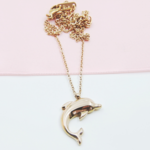 Rose Gold Toned Dolphin Necklace