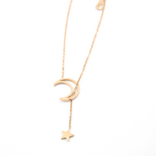 Load image into Gallery viewer, Rose Gold Moon and Star Necklace
