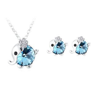 Crystal fashion baby elephant necklace and earring set