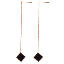 Load image into Gallery viewer, Rose Gold Black Square Threader Earrings