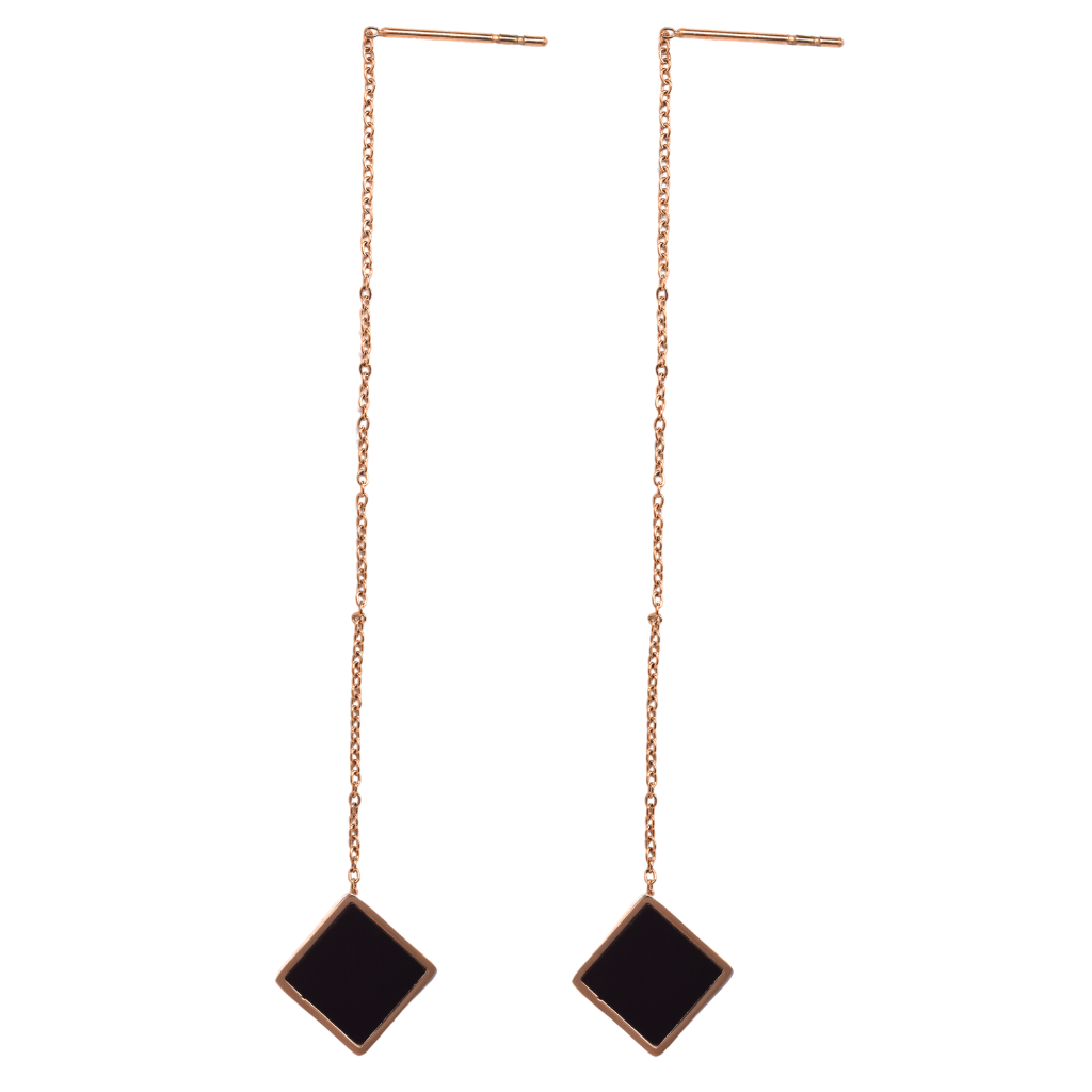 Rose Gold Black Square Threader Earrings