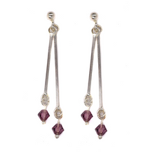 Load image into Gallery viewer, Double Drop Purple Stone Earrings