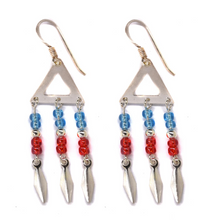 Load image into Gallery viewer, Triangle Blue and Red Bead Drop Earring