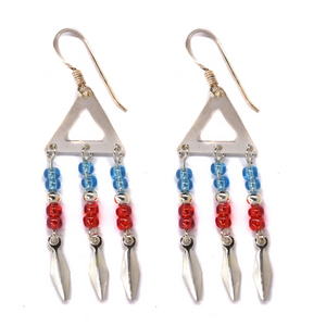 Triangle Blue and Red Bead Drop Earring