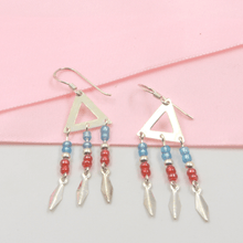 Load image into Gallery viewer, Triangle Blue and Red Bead Drop Earring - Gorecki Gifts