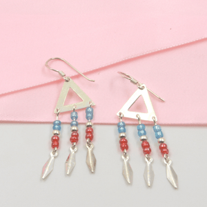 Triangle Blue and Red Bead Drop Earring - Gorecki Gifts