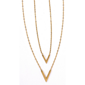 Gold Plated V Layer Necklace