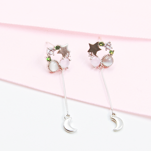 Pink and Moon Drop Earrings