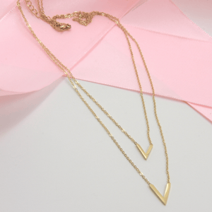 Gold Plated V Layer Necklace - Gorecki Gifts