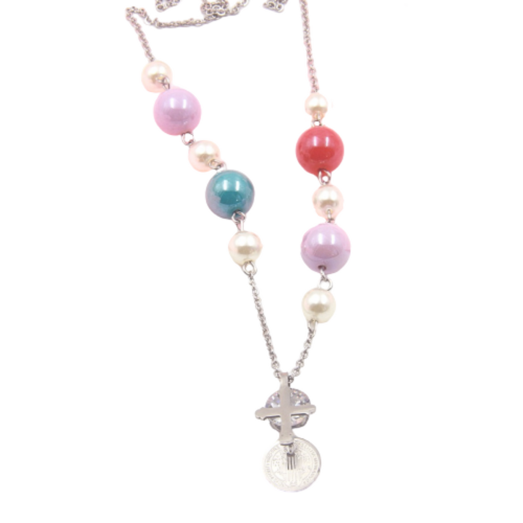 Colour Bead and Cross Necklace