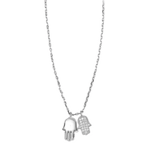 Load image into Gallery viewer, Double Hamsa Hand Necklace