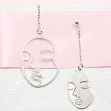 Load image into Gallery viewer, Silver Abstract Long Face Earrings