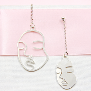 Silver Abstract Long Face Earrings