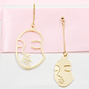 Gold Abstract Long Face Earrings