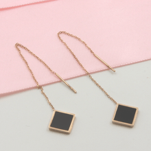 Load image into Gallery viewer, Rose Gold Black Square Threader Earrings - Gorecki Gifts