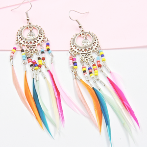 Bohemian Beaded Feather Earrings