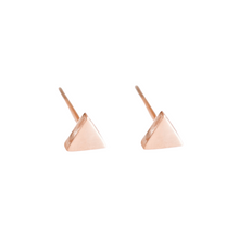 Load image into Gallery viewer, Dainty Rose Gold Triangle Studs