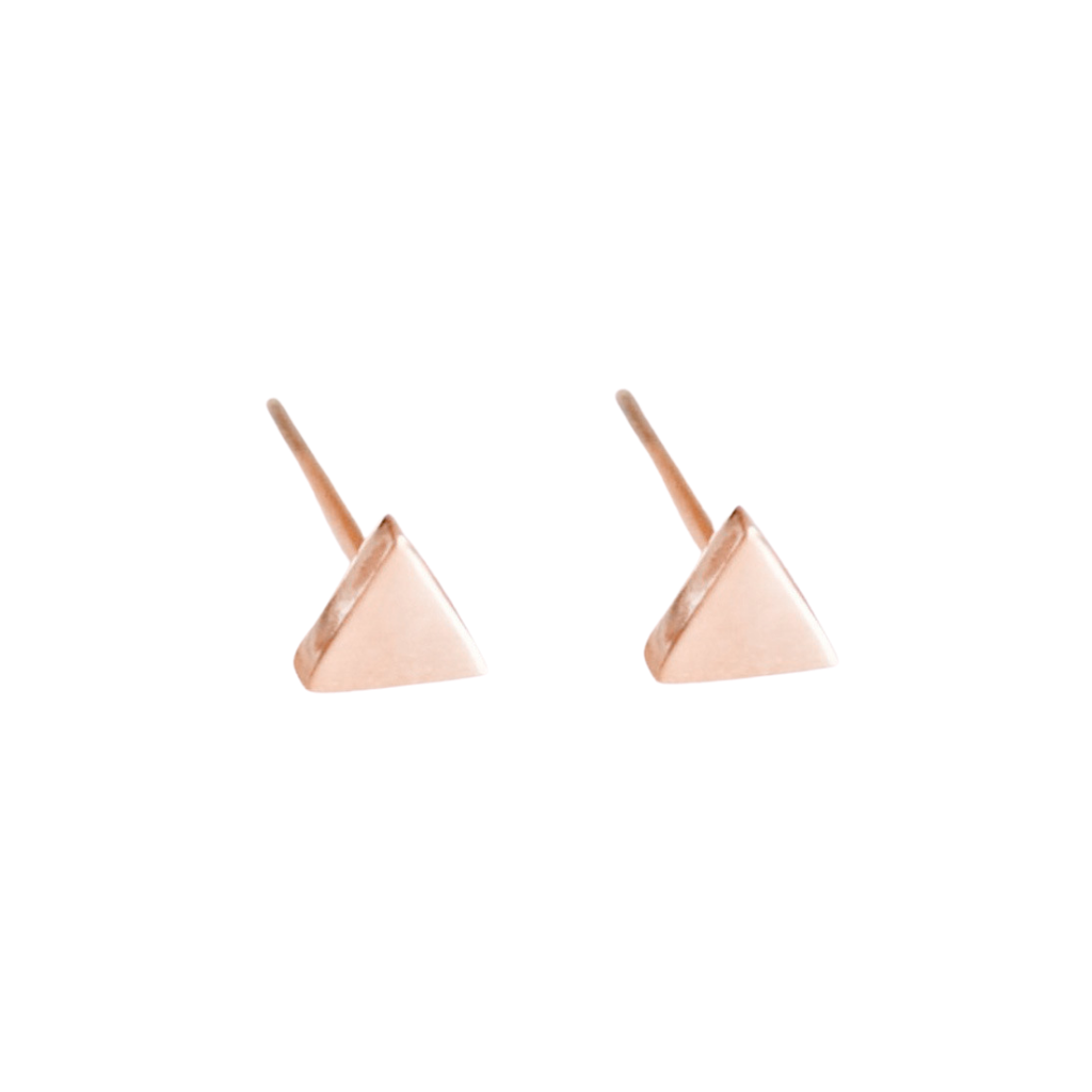 Dainty Rose Gold Triangle Studs