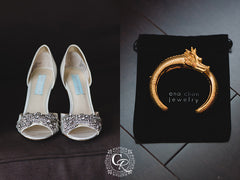 wedding shoes and gold dragon with tail cuff