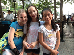 Claire and her best friends Nia and Sarah at 10 years old in Battery Park