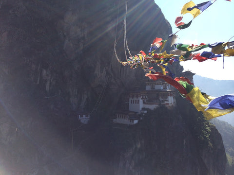 Tiger's Nest Monastery Bhutan with waving flags