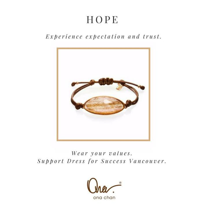 dress for success, values bracelet, dignity, inclusiveness, hope, statement jewelry, statement bracelet, jewelry that gives back, brands that give back, brands that donate, companies that donate,
